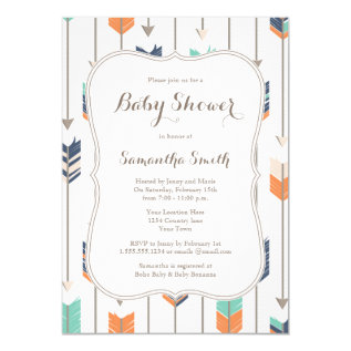 Tribal Arrows Baby Shower Navy Orange Teal Card at Zazzle