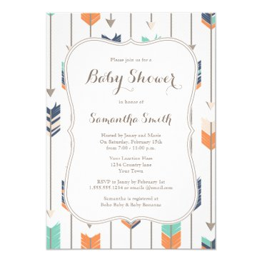 prettypicture Tribal Arrows Baby Shower Navy Orange Teal Card