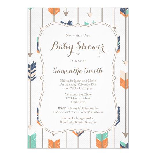tribal arrows baby shower navy orange teal card | zazzle, Baby shower invitations
