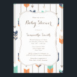 "Tribal Arrows Baby Shower Navy Orange Teal Invitation<br><div class=""desc"">Navy Orange and Teal Blue Tribal Arrows Baby Shower Invitation. Perfect for a Boho Themed Baby Boy Shower.</div>"