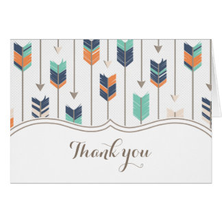 Tribal Arrows Baby Shower Thank You Teal Orange Card