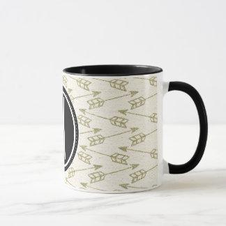 Tribal Arrows | Black Monogram Mug