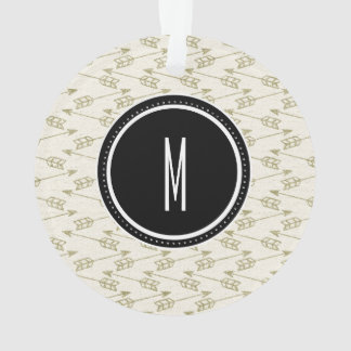 Tribal Arrows | Black Monogram Ornament