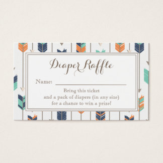 Tribal Arrows Boy Baby Shower Diaper Raffle Ticket