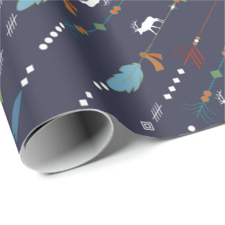 Tribal Arrows Feathers Moose Pattern Wrapping Paper