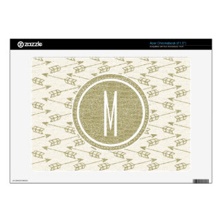 Tribal Arrows | Gold Glitter Monogram Acer Chromebook Decal