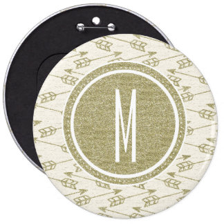 Tribal Arrows | Gold Glitter Monogram Pinback Button