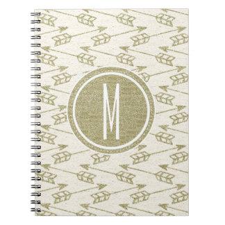 Tribal Arrows | Gold Glitter Monogram Spiral Notebook