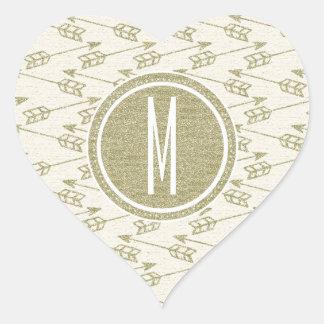 Tribal Arrows | Gold Glitter Monogram Heart Sticker