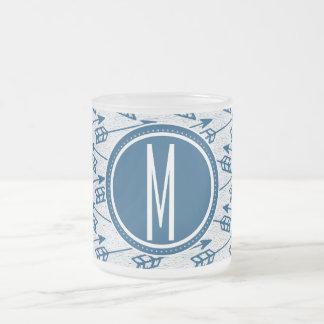 Tribal Arrows | Navy Monogram Frosted Glass Coffee Mug