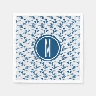 Tribal Arrows   Navy Monogram Napkin