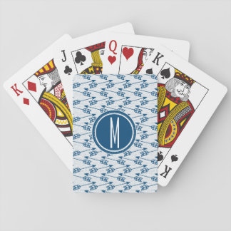Tribal Arrows | Navy Monogram Playing Cards