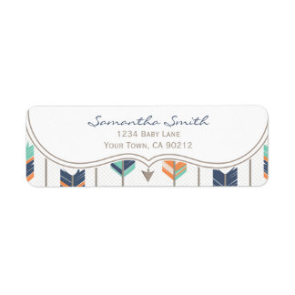 Tribal Arrows Orange Blue and Grey Return Address Label