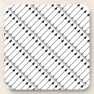 Tribal Arrows Pattern Art, Black and White Beverage Coaster