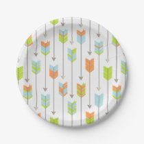 Tribal Arrows Pattern Blue Orange Green Grey Paper Plate