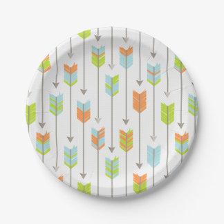 Tribal Arrows Pattern Blue Orange Green Grey Paper Plate