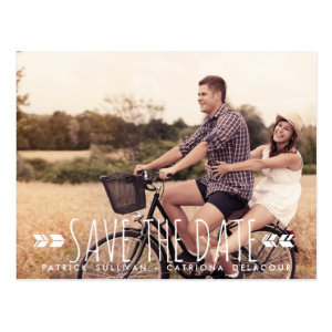 TRIBAL ARROWS PATTERN PHOTO SAVE THE DATE POSTCARD
