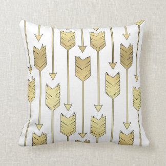 Tribal Arrows Pattern White & Printed Gold Effect Throw Pillow