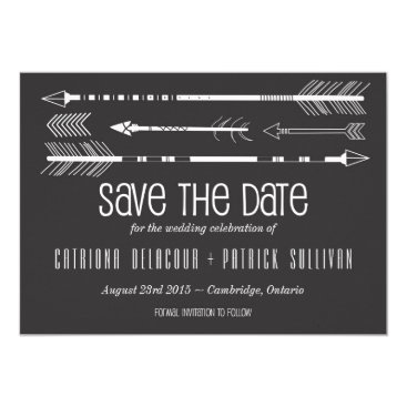 Aztec Themed Tribal Arrows Save the Date Announcement | Grey