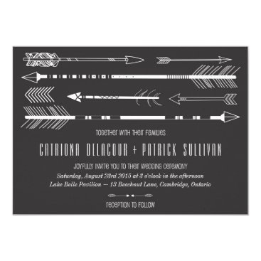Aztec Themed Tribal Arrows Wedding Invitation II | Grey