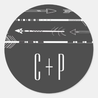 Tribal Arrows Wedding Monogram Sticker | Grey