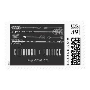 Aztec Themed Tribal Arrows Wedding Postage Stamp | Grey