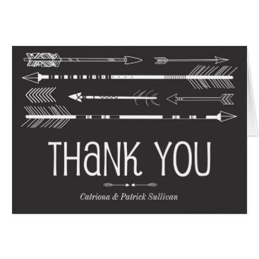 Aztec Themed Tribal Arrows Wedding Thank You Card | Grey