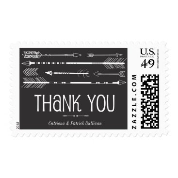 Aztec Themed Tribal Arrows Wedding Thank You Stamp | Grey