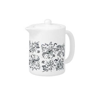 Tribal Art Black and White Teapot