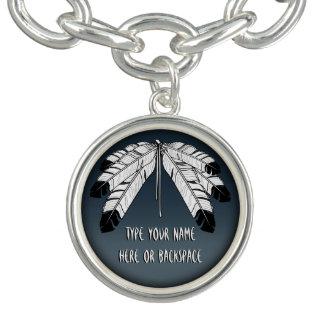 Tribal Art Bracelet Eagle Feather Charm Bracelet