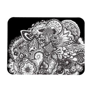 Tribal art ink drawing rectangular photo magnet