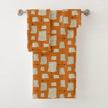 Aztec Themed Tribal Art Pattern Arrows Shapes Tan Black Pumpkin Bath Towel Set