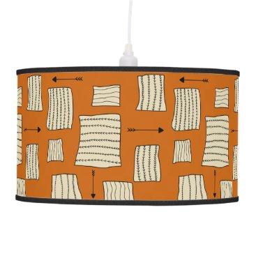Aztec Themed Tribal Art Pattern Arrows Shapes Tan Black Pumpkin Ceiling Lamp