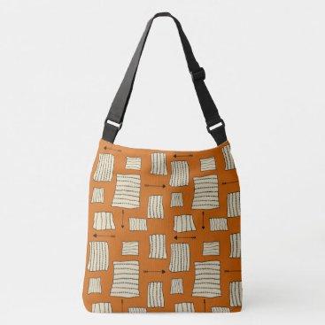 Aztec Themed Tribal Art Pattern Arrows Shapes Tan Black Pumpkin Crossbody Bag