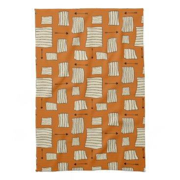 Aztec Themed Tribal Art Pattern Arrows Shapes Tan Black Pumpkin Kitchen Towel