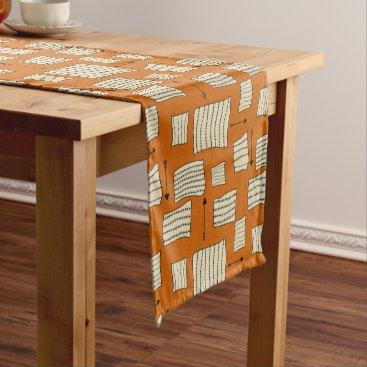 Aztec Themed Tribal Art Pattern Arrows Shapes Tan Black Pumpkin Medium Table Runner
