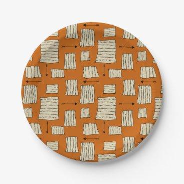 Aztec Themed Tribal Art Pattern Arrows Shapes Tan Black Pumpkin Paper Plate