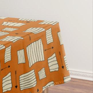 Tribal Art Pattern Arrows Shapes Tan Black Pumpkin Tablecloth