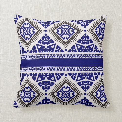 Tribal Art Pillow in Navy and Black
