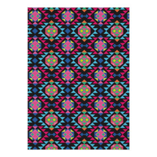 Tribal aztec andes geometric hipster black pattern poster