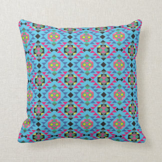 Tribal aztec andes geometric navajo blue pattern throw pillow