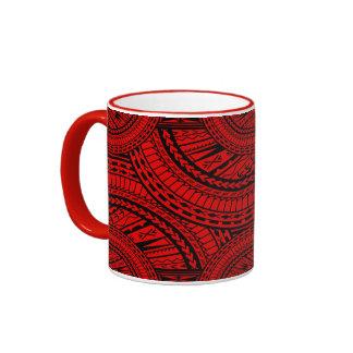 Tribal Aztec Art Red Black Ringer Mug