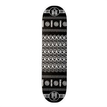 Aztec Themed Tribal Aztec Black White Geometric Skateboard