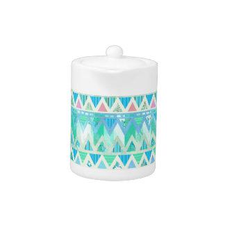 Tribal Aztec Chevron Light Pastel Teal Aqua Orange Teapot