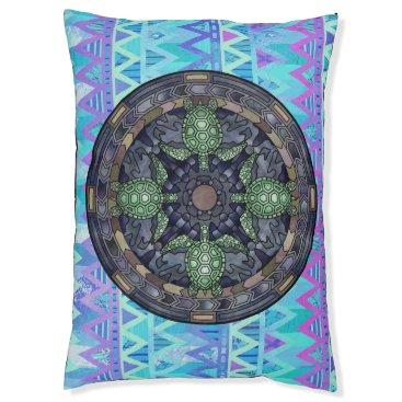 Aztec Themed Tribal Aztec Chevron Turtle Mandala Blue Dog Bed