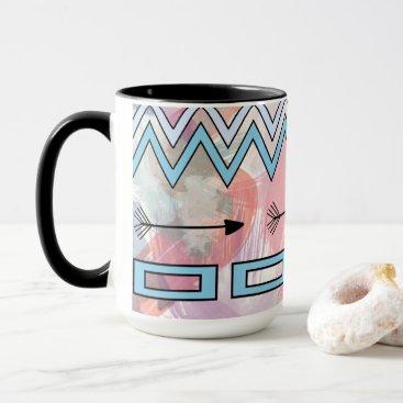Beach Themed Tribal Aztec Geometric Art Watercolors Chevrons Mug