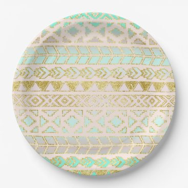 Aztec Themed Tribal Aztec Mint and Gold Geometric Paper Plate