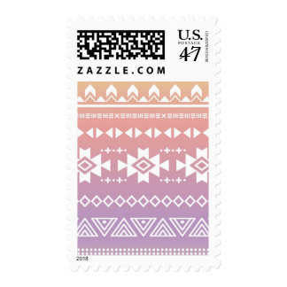 Tribal aztec ombre pattern postage