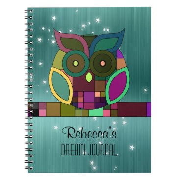 Aztec Themed Tribal Aztec Owl on Teal (Faux) Brushed Metal Notebook