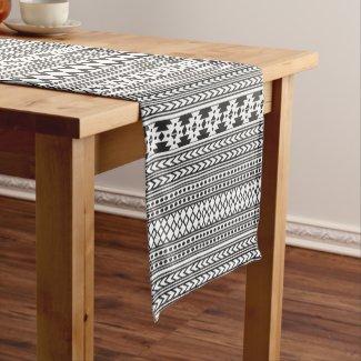 Tribal Aztec Pattern Black And White Short Table Runner
